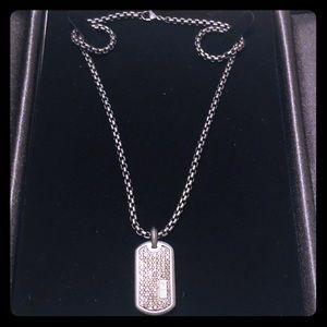 "David Yurman Titanium Black Diamond Tag & 20""Chain"